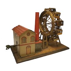 Wonderful Early German Hess Tin Litho Toy Mechanical Ferris Wheel