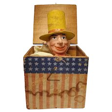 Early Scarce German Uncle Sam Wood Paper Lithograph Jack in the Box