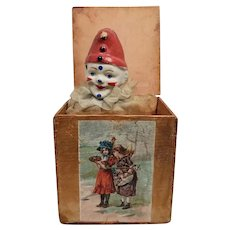 Early German Wood Paper Lithograph Clown Jack in the Box