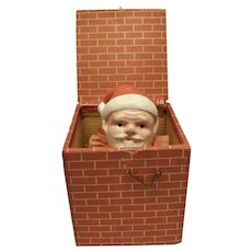 Wonderful Early Wood Paper Lithograph Santa Jack-in-the-Box