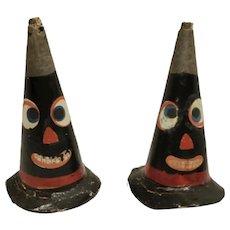 Early Pair of Scarce German Halloween Cardboard Party Horns