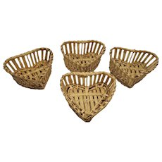 Vintage Set of Four Sweet Small Heart Shaped Baskets
