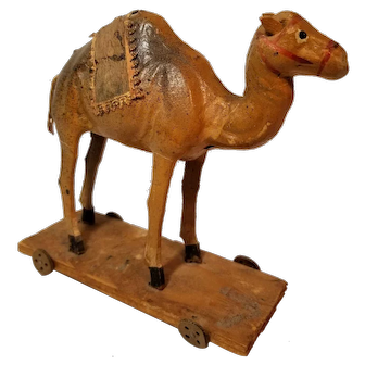Early German Putz Camel Pull Toy