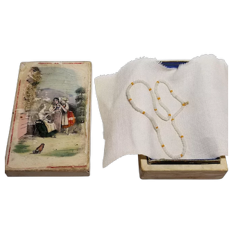 Sweet Victorian Paper Litho Box with Beaded Doll Necklace