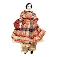 "Antique Miniature 4 3/4"" China Head Doll with Lovely Clothing"