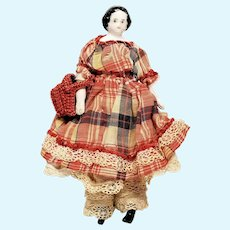 """Antique Miniature 4 3/4"""" China Head Doll with Lovely Clothing"""