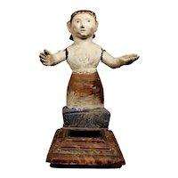 Antique Wood  Carved Santos Figure