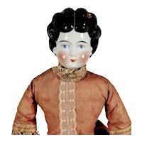 """Antique 20"""" China Head Doll with Beautiful Original Clothing"""