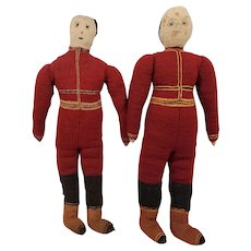 Early Pair of Knit Football Player Rag Dolls