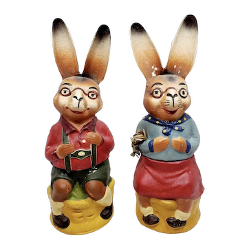 Early German Pair of Mr. And Mrs. Peter Rabbit Candy Containers