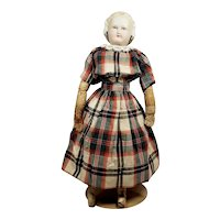 Beautiful Antique Parian Lady Doll with Molded Snood