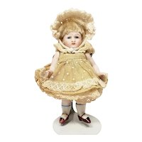 Sweet Little Antique German Kestner Bisque Doll with Original Clothing