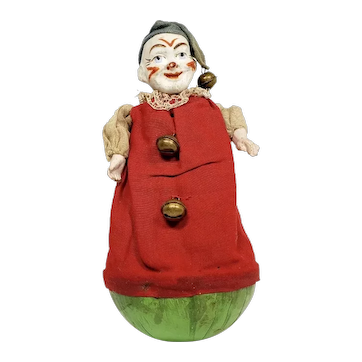 Early German Clown Roly Poly with Clothing and Composition Face