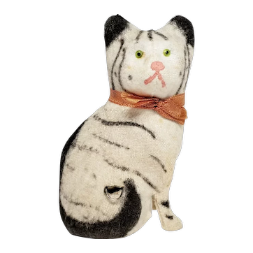 Darling Little German Cat Figural Tape Measure with Glass Eye