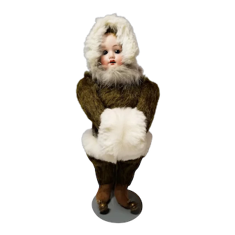 German Bisque Face Teddy Baby Doll
