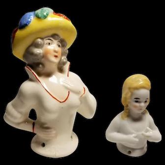 Pair of German Porcelain Half Dolls