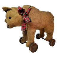 Early Steiff Bear on Wheels
