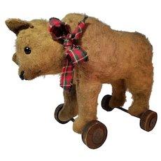 Early Steiff Bear on Wheels