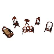Sweet Miniature Victorian Walnut Doll House Furniture Set