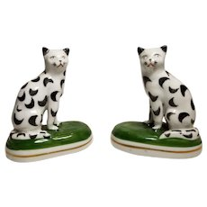 Wonderful Pair of Miniature Staffordshire Chelsea Porcelain Cat Figures