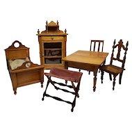 Victorian Miniature Wooden Doll House Furniture Set