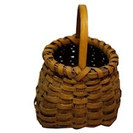 Early Miniature Splint Basket with Handle and Paint
