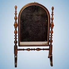 Antique Miniature Mahogany Doll Mirror