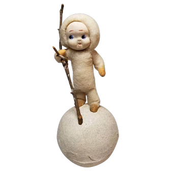 Sweet Vintage Spun Cotton Snowbaby Candy Container on Snowball