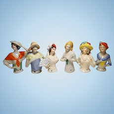 Vintage Porcelain Lot of Six German Half Dolls