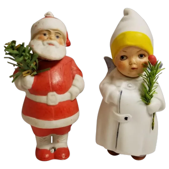 Pair of Vintage German Bisque Santa and Angel Christmas Nodders