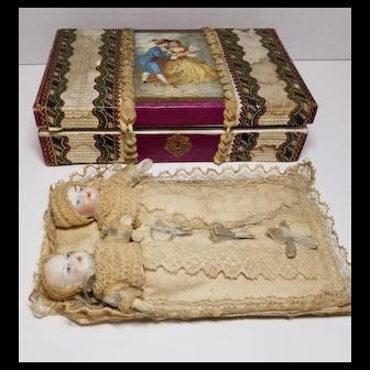 Wonderful Victorian German Bisque Twin Dolls with Sweet Presentation Box