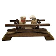Sweet Antique German Wooly Putz Sheep with Wood Bridge