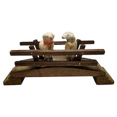 Sweet Antique German Wooly Putz Sheep with Wood Bridge