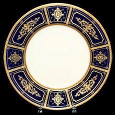 10 Antique Minton Cobalt Gilded Service or Dinner Plates