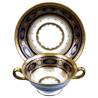 10 Antique Minton for Tiffany Cobalt Blue Gold Encrusted Cream Soups, England