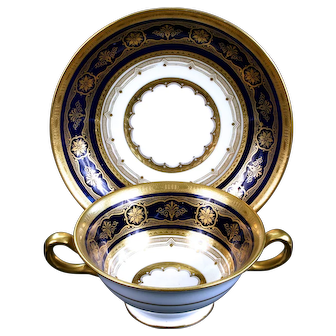 10 Antique Minton for Tiffany Cobalt Blue Gold Encrusted Cream Soups, England