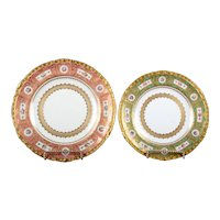 15 Derby for Tiffany Hand-Painted and Gilded Pink Service Plates