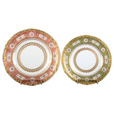 Service of 24 19th Century Derby for Tiffany Hand-Painted and Gilded Pink and Green Plates