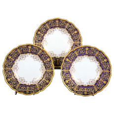 12 Coalport Cobalt Blue Soup Plates with Intricate Gilding