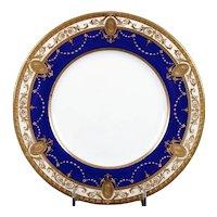 12 Minton Medallion Gold Encrusted Cobalt Plates