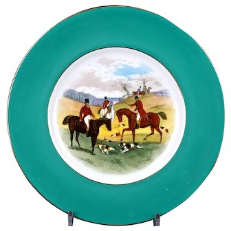 12 Minton Fox Hunt Plates, Handpainted, signed by artist J.E. Dean