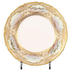 """12 Antique Royal Doulton Hand Painted and Heavily Gilded Fish Plates: signed """"J. Hancock"""""""