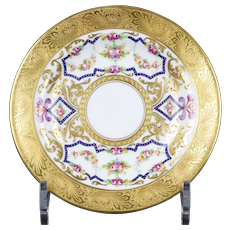 10 Crown Sutherland, Staffordshire, England, Heavily Gilded Hand-Painted Small Floral Plates