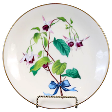 9 Antique Minton Botanical Flower Spray Plates, hand-painted