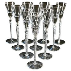 10 Crystal Air Twist Stem Tall Cordial Glasses