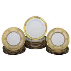 Service of 24 Cauldon, England Gilt and Green Plates