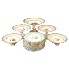 19th Century Davenport, England Hand-Painted Dessert Service, 17 pieces