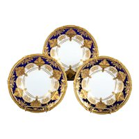 12 Derby for Tiffany Cobalt Blue Soup Plates with Elaborate 2-Color Gilding