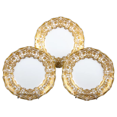 12 Derby Salad or Dessert Plates with Elaborate 2-Color Gilding