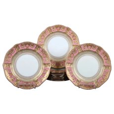 12 Derby Pink Service Plates with Elaborate 2-Color Gilding